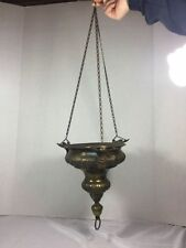 Antique Brass Cherub Hanging Planter Pot Angel With Wings Hangs On Chain