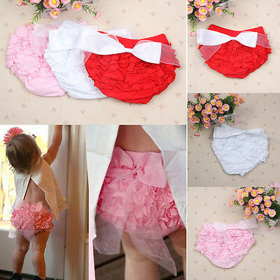 Toddler Baby Girls Ruffle PP Pants Shorts Bow Bloomers Diaper Nappy Cover 1-3Y