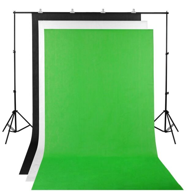 Photography Screen Background Stand Support Kit Adjustable 3 Backdrops Bag 2x2m
