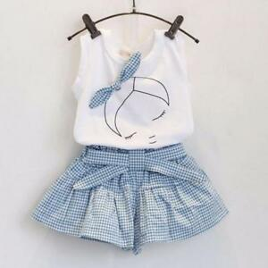 Toddler-Kids-Baby-Girls-T-shirt-Tops-Plaids-Dress-Pants-2PCS-Outfits-Clothes-Set