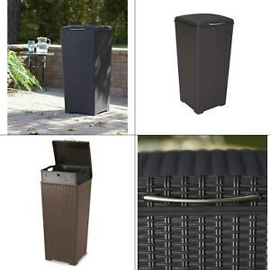 30 Gal Brown Wicker Style Plastic Trash Can Resin Waste Keter Basket Liner Ebay