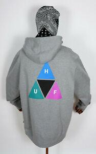 Huf Sweatshirt Hooded Pullover Hoodie Prism Triple Triangle Grey Heather in S