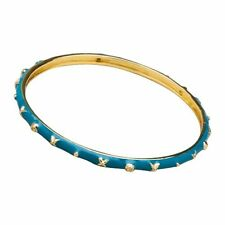 Blue Enamel Bangle Bracelet with Gold Tone and White Crystal Accents 57 mm