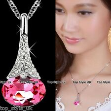 Pink Crystal Diamond Necklace Pendant KC Gold Plated Gift for her wife Angel <3