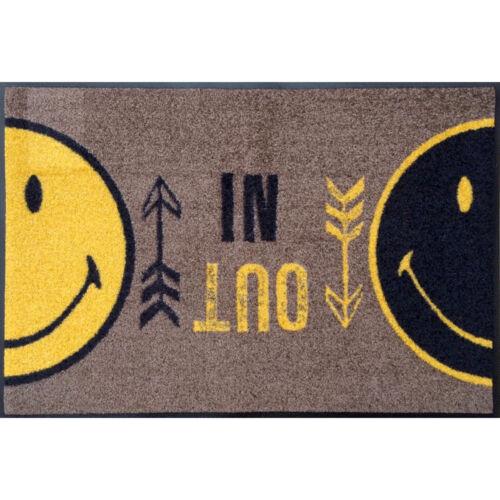 ca 50 x 75 cm Wash+Dry Türmatte Fußabstreifer waschbare Fußmatte Smiley IN OUT