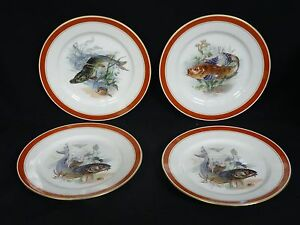 LOT-of-4-T-V-TRESSEMANN-amp-VOGT-LIMOGES-FRANCE-LA-CLOCHE-FISH-CABINET-PLATE-8-75