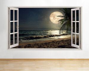 H675-playa-de-arena-de-la-luna-de-noch-pegatina-pared-vinilo-3d-habitacion-ninos