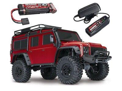 100% Vero Traxxas Trx-4 Land Rover Defender Crawler Rosso 1:10 4wd + Batteria + Caricabatterie #82056-4rse-mostra Il Titolo Originale