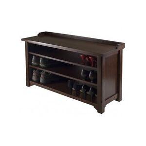 Entryway Storage Bench With 2 Shelves Walnut Elegant Modern Shoe Rack New Ebay