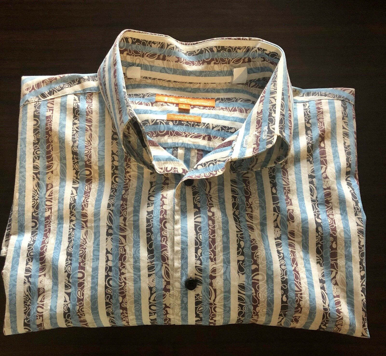 Ben Sherman 5 XXL Vintage bluee Multi Striped Paisley Long Sleeve Button Front
