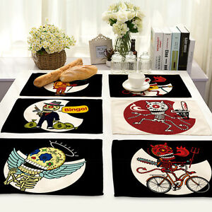 Image Is Loading Fashion Table Mats Placemat Rock Skull Print Tableware