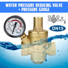 Dn15 Water Pressure Regulator Brass Adjustable Reducing Valve With Gauge Meter