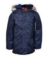 New Boys Kids Navy Snorkel Hood Parka Coat School Jacket Padded Warm Age 2 - 14