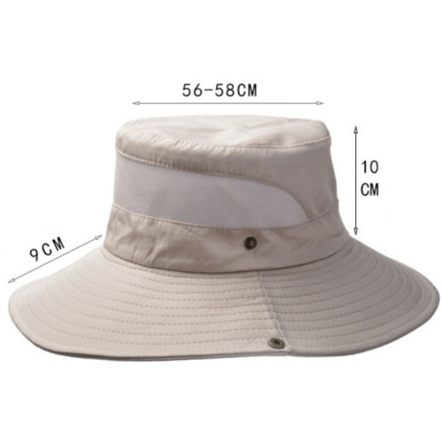 Herren Damen Fischerhut Schlapphut Mesh Anglerhut Hüte Seitentasche Freizeithut