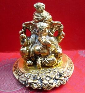 Lord Ganesh Ganesha Made In White Metal Gold Plated Statue Idol