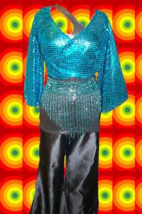 A57 - 60er 70er Jahre Glitzer Disco Dancing Gürtel Glam Rock Perlen Türkis