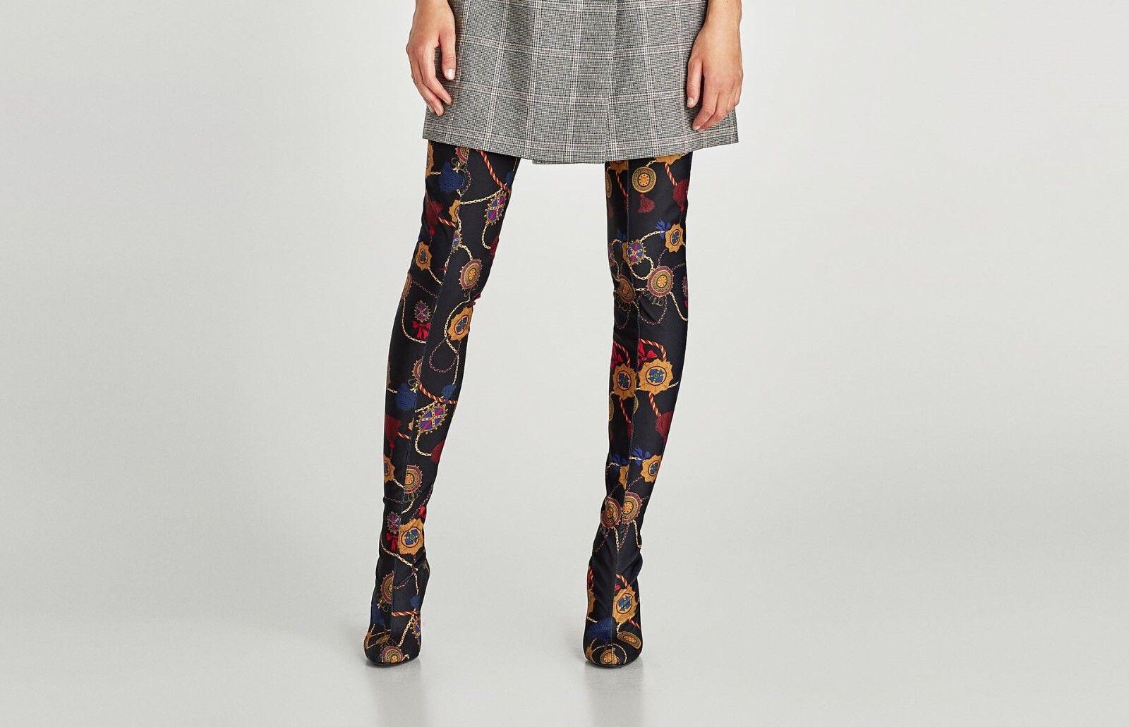 Zara con Woman BNWT sobre la rodilla Botas Taco Alto con Zara tela impresa Ref: 5013/201 ce3a64