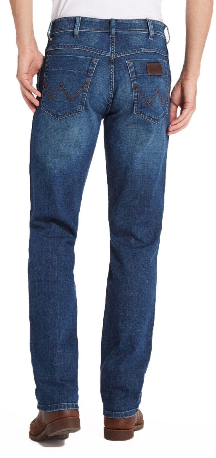 Wrangler Texas Stretch Jeans Mens Regular Blue Used Vintage Blue Faded Denim