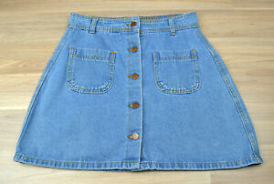 VALLEYGIRL-Blue-Denim-Button-Up-A-Line-Mini-Skirt-with-Front-Pockets-Size-10