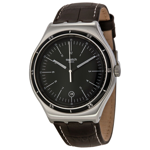 Swatch Trueville Black Dial Brown Leather Mens Watch YWS400
