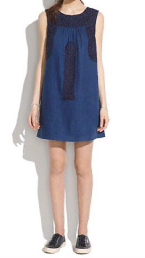 Madewell Blau Mercado Shift Dress Embroiderot Sleeveless Größe Small NWT