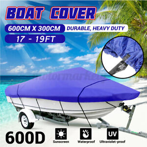 17-19ft-600D-Blue-Heavy-Duty-Boat-Cover-Trailerable-Ski-Fish-V-hull-Marine-UK