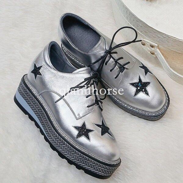 Nuevo Creepers para mujer con tacón de cuña zapatos con cordones de Cuero zapatos cuña  De Plataforma Bombas De Punta Redonda 678c90