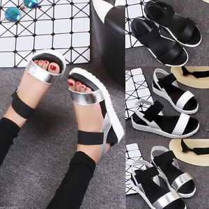 Women-Open-Toe-Ankle-Strap-Flat-Heel-Beach-Sandals-Summer-Platform-Wedges-Shoes