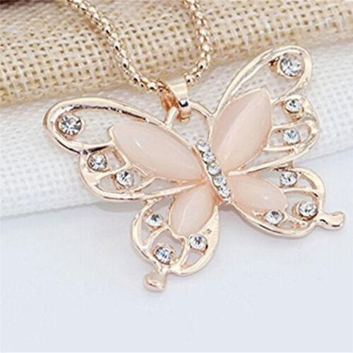 """Fashion Jewelry Golden Butterfly Necklace with 27/"""" Chain CZ 66-2"""