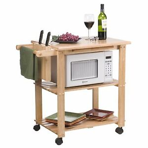 Details about Microwave Kitchen Cart Island Storage Rack Wood Counter Top  Mobile Utility