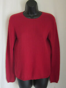 CHARTER-CLUB-Women-039-s-Red-2-Ply-100-Cashmere-Crewneck-Sweater-S-Small
