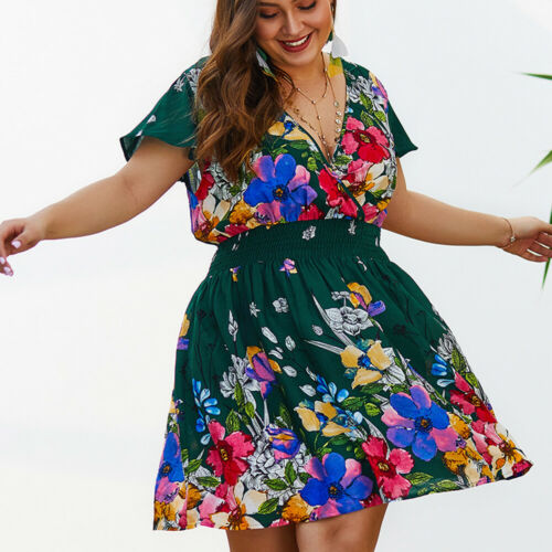 Plus Size Women Summer Short Sleeve V Neck Boho Elastic Waist Floral Party Dress