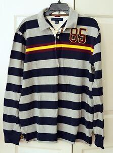 e055525d Vintage 90s Tommy Hilfiger Men's L Color Block Rugby Shirt L/S #85 ...