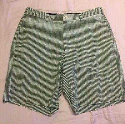 Brooks Brothers Men S 34 Seersucker Shorts Green White Ebay