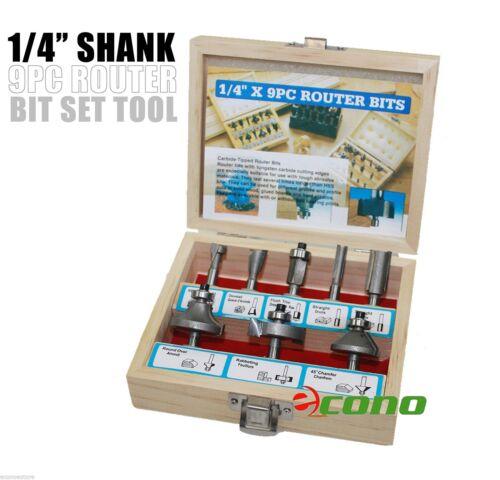 "1//4/""Shank 9PC Tugsten Carbide Router Bit Set Woodworking Cutter Bits Work Shop"