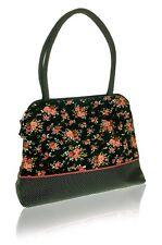 Black Flower Printed Cotton Tote Bag, Polka Dot Trim - Fair Trade BNWT