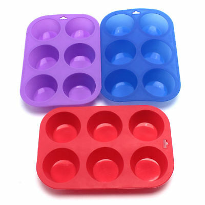6pc Square Silicon Muffin Pan Baking Cooking Tray Mould