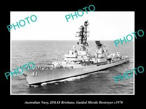 OLD-LARGE-HISTORIC-PHOTO-OF-AUSTRALIAN-NAVY-THE-HMAS-BRISBANE-DESTROYER-c1970