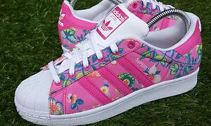 BNWB Autentica Adidas Originals xfarm societ WOM Superstar Scarpe Da Ginnastica Floreale UK 5