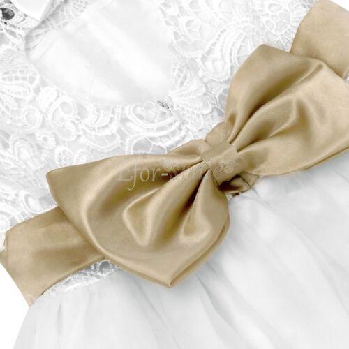 Flower Girl Princess Long Dress Lace Party Wedding Bridesmaid Graduation Dresses