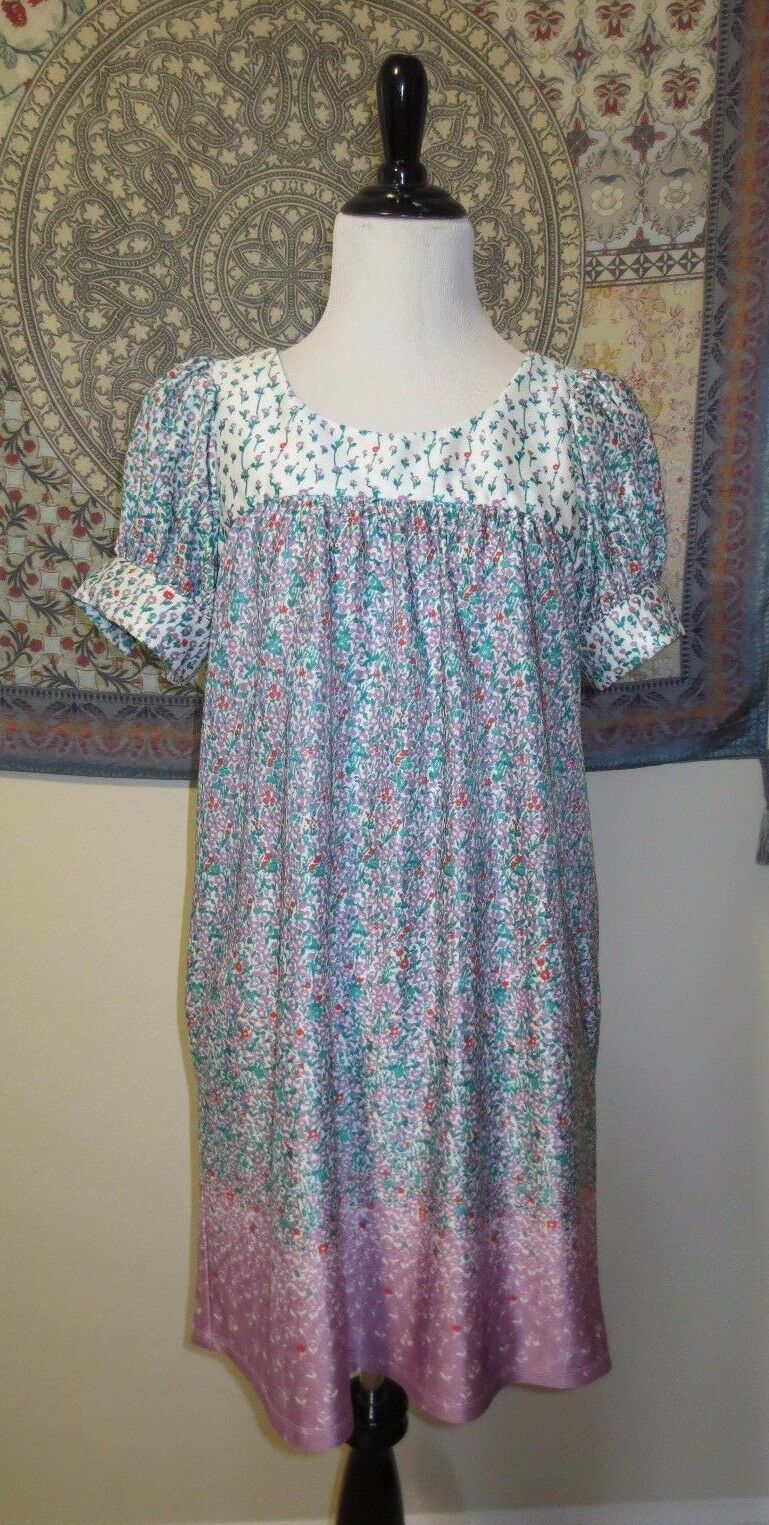 Betsey Johnson Floral Babydoll Dress Tunic S Retro PinUp pinkbud Multicolor  nykiug1714-Dresses bed0a3765