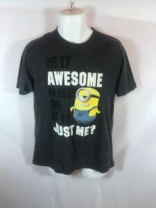 Men's Despicable Me Minion Grey Graphic Tshirt Sz M