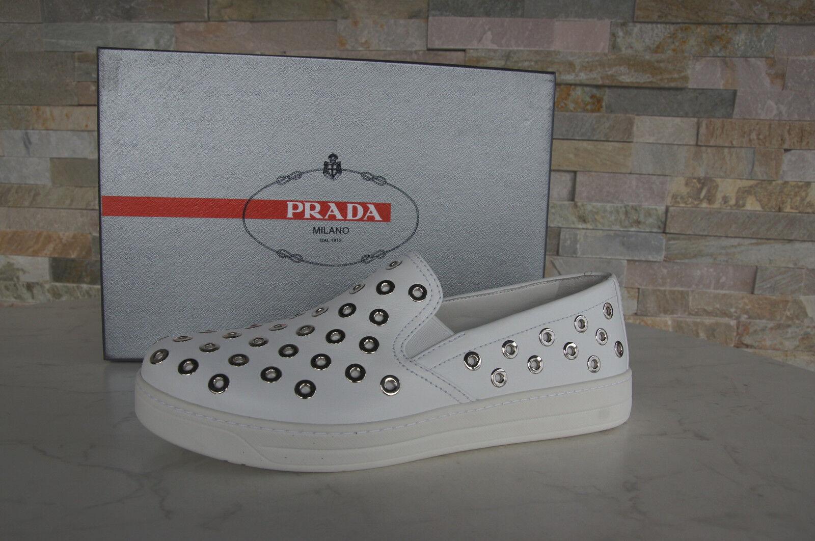 PRADA Gr Kalb 38 Slipper Sneakers Slip On Schuhe Kalb Gr 3S6159 weiß NEU 562479