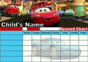 Personalised Disney Cars Reward Chart Potty Training