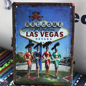 Welcome to fabulous las vegas nevada casino tin sign metal for Home decor las vegas