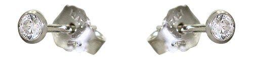 Ohrstecker Silber 925 Zirkonia Stecker Ohrringe echte Silberohrstecker 3 mm