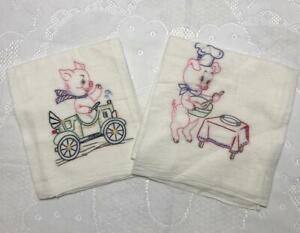 Vintage-Hand-Embroidered-Flour-Sack-Towels-Set-of-2-Chef-Piggy-amp-Traveling-Pig