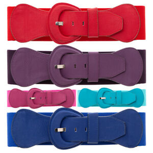 Elastic Wide Waist Belt Big Buckle Casual Everyday Full Colour Waistband FP30