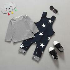 Fashion Baby Boys Pants Set Stripe T-shirt Top Bib Pants Overall Outfits Clothes