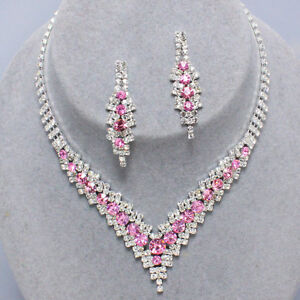 Image Is Loading Pink Diamante Necklace Set Prom Bridal Party Sparkly